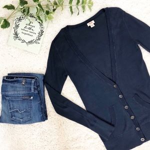 Mossimo Cardigan Sweater V Neck Long Navy Blue XS